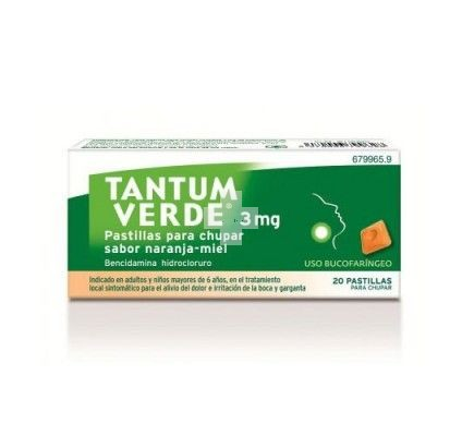 TANTUM VERDE 3 mg PASTILLAS PARA CHUPAR SABOR NARANJA-MIEL