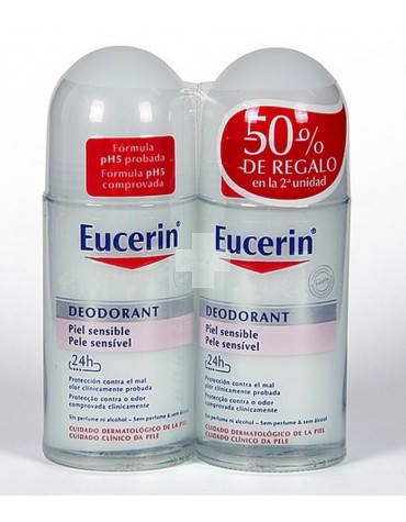 Pack Ahorro Eucerin 2 desodorantes Roll on Piel Sensible 50 ml