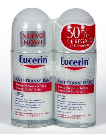 Pack Ahorro Eucerin 2 desodorantes Roll on Antitranspirante 50 ml