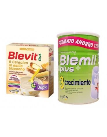 Blemil 3 Plus 1200 + Blevit Plus 8 cereales bizcocho 600 g