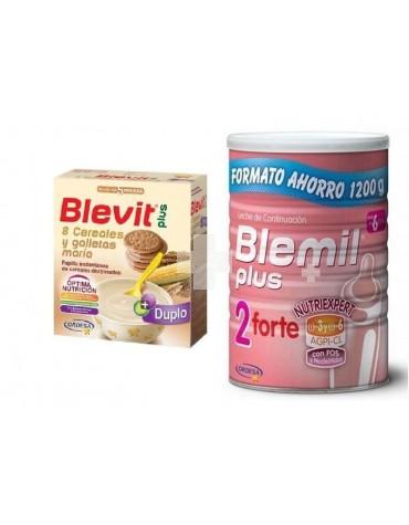 Blemil 2 Plus Forte 1200 + Blevit Plus 8 cereales con galletas María 600 g
