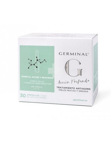 Germinal Acción Profunda piel mixta/grasa 30 ampollas ideal para combatir arrugas de rostro cuello y escote