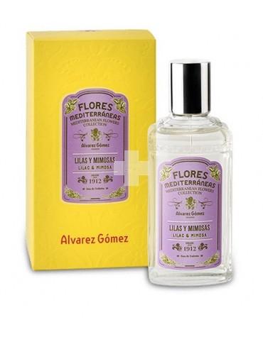 Colonia de Flores Mediterráneas Lilas y Mimosas