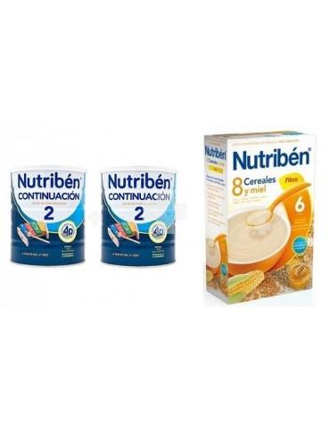 NUTRIBEN CONTINUACION 2X800 G + 8 CER MIEL FIBRA 600G