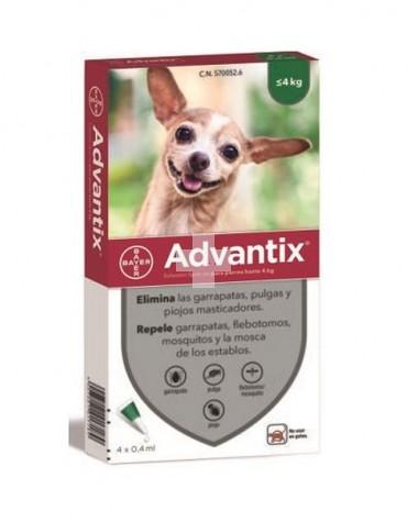Advantix 0-4 kg elimina garrapatas, pulgas y piojos masticadores