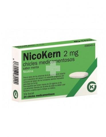 NICOKERN 2 MG 24 CHICLES MEDICAMENTOSOS SABOR MENTA