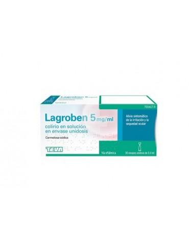 LAGROBEN 5 MG/ML COLIRIO EN SOLUCION EN ENVASE UNIDOSIS , 30 envases de 0,4 ml