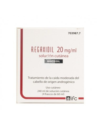 Regaxidil 20mg/ml solución cutánea 4 frascos 60 ml
