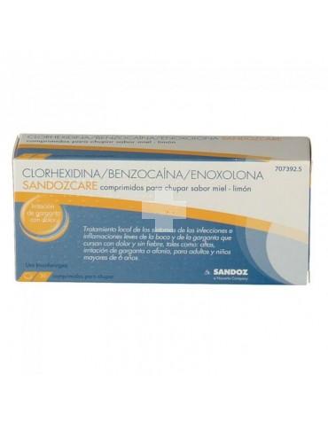 Clorhexidina/Benzocaina/Enoxolona Sandoz Care (30 Comprimidos Para Chupar Miel-Limón).