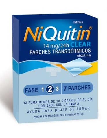 "Niquitin Clear ""14"" 78 mg 7 parches"