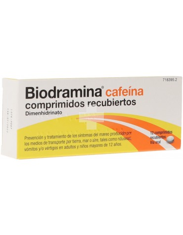 Biodramina Cafeína 12 Comprimidos Recubiertos.