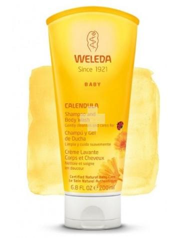 Weleda Champú y Gel de ducha de Caléndula 200 ml, para cabello y piel, sin jabón